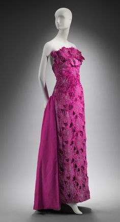1980s, America - Woman's evening dress by Arnold Scaasi - Rayon velvet, cut and trimmed with crystals; silk plain weave bustle