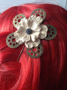 Steampunk Hair Clip  Steampunk Flower Hair by ArcanumByAerrowae