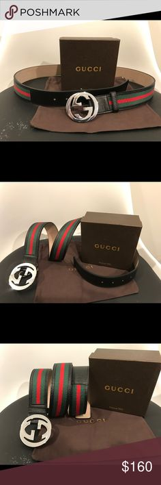 863275712 Authentic Men Gucci Belt Black Green Red - 100% Authentic - Easy and great  everyday
