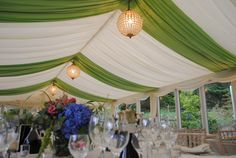 #pleatedivory with #greenoverlays and #globechandeliers