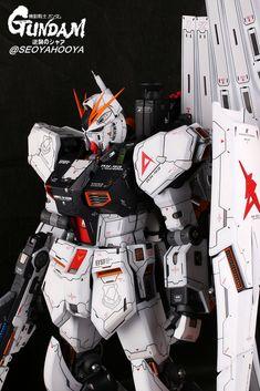 Neo Grade Nu Gundam - Customized Build Modeled by Seoyahooya Frame Arms, Gundam Model, Mobile Suit, Grade 1, Robot, Action Figures, Building, Sci Fi, Anime