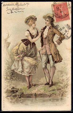 ~DS002 A & MB N°224 COUPLE MARQUIS MARQUISE Romantique Belle LITHO~