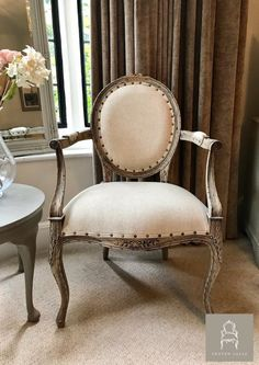Round back louis style chair with reclaimed wood frame
