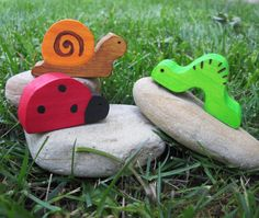 Wooden Bug Trio Waldorf Toy Natural EcoFriendly by Imaginationkids