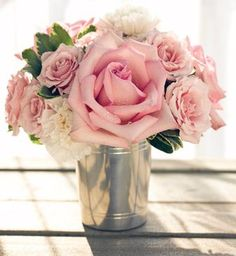 One of my favorite ways to arrange flowers, in a simple julep cup.