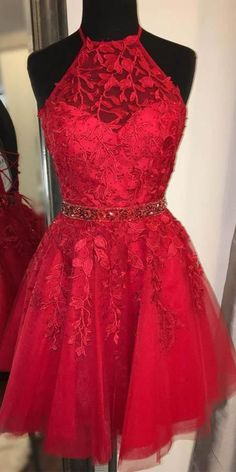 Halter Short Tulle Appliques Homecoming Dress with Beaded Waist Cute Girls Short Cocktail Party Dress Custom Made Short Appliques School Dance Dresses Source by Dance dresses