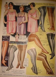 "Advertisement for lingerie and hosiery in ""extra-size"" and ""double extra size"", c. 1920s-30s."
