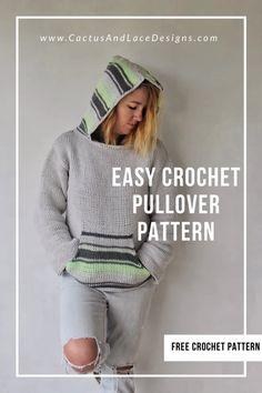 Crochet Pullover Pattern, Crochet Hoodie, Hoodie Pattern, Free Crochet Sweater Patterns, Crochet Sweaters, Lace Patterns, Clothing Patterns, Easy Crochet, Knit Crochet