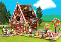"- Full Description - Specifications - Shipping ""Bake"" the Witch's gingerbread house, covered with colored candies and cookies. Hansel and Gretel cannot resist exploring this delicious toy house, which"