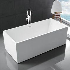 "Legion Furniture 67"" Acrylic Rectangular Freestanding Bathtub"