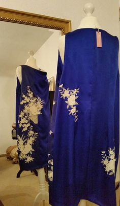 Kimono Dress / Kimonoremake / Silk dress in royal blue