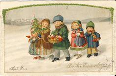 Weihnachten: Kinder mit Päckchen, Pauli Ebner,1931, Litho, AGB 2766 | eBay