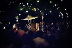 Twinkle lights at a night time wedding