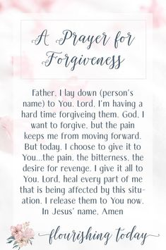 "Have you ever forgiven someone only to have the ""feelings"" come up again? Here are a few tips on how to forgive when you can't forget and a prayer for forgiving others. Prayer For Forgiveness, Asking For Forgiveness, Prayer Verses, Prayer Quotes, My Prayer, Bible Verses, Prayer To Forgive Others, How To Forgive, Forgiveness Scriptures"