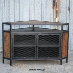 steel and wood tv stand | Vintage Industrial Tv Stand - Corner Unit. Steel, Reclaimed Wood ...