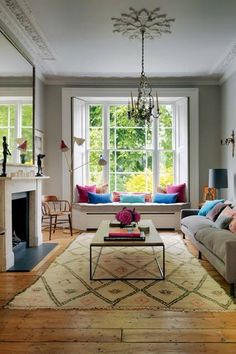 Here are the Victorian Bay Window Seat Ideas. This post about Victorian Bay Window Seat Ideas was posted under the … Home Decor Bedroom, Home Living Room, Living Room Designs, Bedroom Ideas, Bright Living Room Decor, Living Room Decor Elegant, London Living Room, Colourful Living Room, Living Area