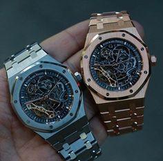 Audemars Piguet Royal Oak Skeleton Steel and Gold Audemars Piguet Gold, Audemars Piguet Watches, Cool Watches, Rolex Watches, Luxury Packaging, Hand Watch, Luxury Watches For Men, Fashion Watches, Bracelet Watch