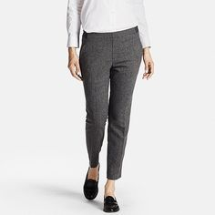 WOMEN TWEED ANKLE LENGTH PANTS, GRAY