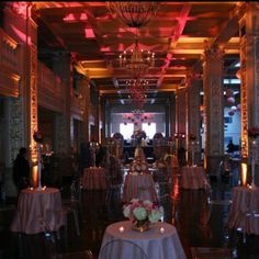 Lower level and view of lounge, at wedding reception.