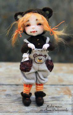 Купить Дюймовочка - коричневый, белый, кукла ручной работы, кукла, кукла в подарок, кукла интерьерная
