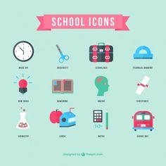 School Icons Flat Design Free Vector | Download Free Vector ...