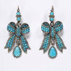 England, 1850-1860, Gold, set with turquoises and with rose and brilliant-cut diamonds http://pinterest.com/dorothy5211/gold-earrings/