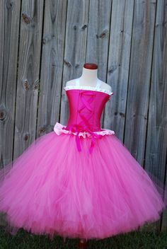 Aurora Sleeping beauty inspired floor length corset and tutu set for pageant party or halloween costume 18 month 24 mos 2T 3T 4T 5 6