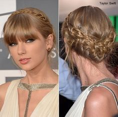 Taylor Swift has classy hair color with perfect style. In all her shows she looks nice with new hair cut and style. She looks so pretty in white dress with her hair style is decent and elegant. Up Hairstyles, Pretty Hairstyles, Braided Hairstyles, Bangs Hairstyle, Taylor Swift Updo, Hair Styles 2014, Long Hair Styles, Braided Prom Hair, Braided Updo