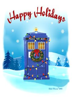 Doctor Who Christmas Cards  Tardis Christmas by RaygunsandRobots, $12.60