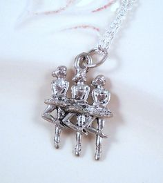 Silver Ballerina Trio Necklace  gift for her by lucindascharms, $8.00