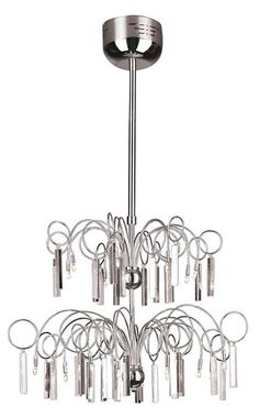 """Roero Series 20-Light 46"""" Chrome Modern Pendant Chandelier with Crystal Accents MDN-323"""