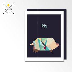 Nursery Art Origami Pig Geometric Poster Modern by DigitalBanana