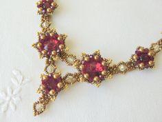 Flower Necklace Victorian Style Jewelry Swarovski Rivoli Beadwoven Necklace Red Bridal Statement Necklace Art Deco Necklace