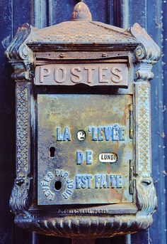 Antique mailbox in french Old Mailbox, Antique Mailbox, Vintage Mailbox, Mailbox Post, Lund, Home Mailboxes, You've Got Mail, Going Postal, Post Box