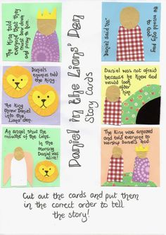 Free printable for set of story cards for retelling Daniel in the Lions' Den. Flame: Creative Children's Ministry: Daniel in the Lions' Den Story Cards Bible School Crafts, Preschool Bible, Sunday School Crafts, Bible Crafts, Bible Activities, Preschool Themes, Bible Stories For Kids, Bible For Kids, Daniel And The Lions