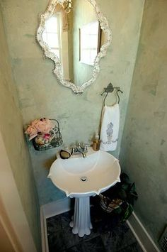 Color washed wall in powder room