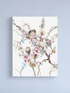 """Sparrows And Apricot Blossom"" Canvas Print by surenart | Redbubble Bird Wall Art, Bird Artwork, Bird Prints, Wall Art Prints, Canvas Prints, Apricot Blossom, Bird Canvas, Watercolor Bird, Sparrows"