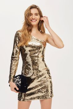 One Shoulder Sequin Mini Bodycon Dress - Dresses - Clothing - Topshop Dresses Uk, Sexy Dresses, Beautiful Dresses, Short Dresses, Fashion Dresses, Dresses With Sleeves, Party Dresses, Sequin Cocktail Dress, Sequin Dress