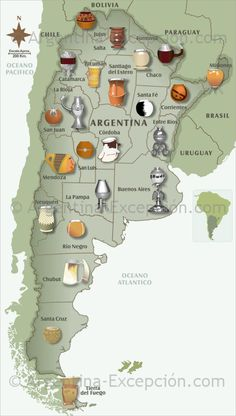Maps of Argentina ▷ Map of mates in Argentina: see our maps and discover our usefull information about Argentina. Argentina Culture, Argentina Food, Love Mate, Yerba Mate Tea, Different Types Of Tea, Romantic Escapes, Spanish Culture, Teaching Spanish, Teaching Latin