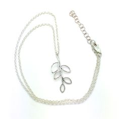 "Sweet and Simple is an 18"" Long Sterling Silver Chain Necklace With Lobster Closure and 1 ½"" Extender. The Pendant is an Open Leaf Sterling Silver Design. Product #15-078"