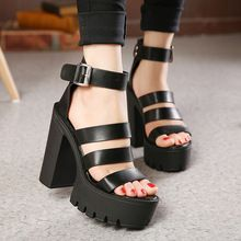 Gdgydh 2017 New Summer Shoes Women White Open Toe Button Belt Thick Heel Wedges Platform Shoes Fashionable Casual Sandals Female Fashion Heels, Sneakers Fashion, Womens Summer Shoes, Outfit Trends, Open Toe Shoes, Thick Heels, Platform Shoes, Cute Shoes, Stiletto Heels
