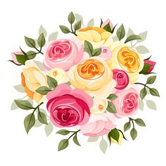 Illustration of Pink and yellow rose illustration vector art, clipart and stock vectors. Rose Illustration, Vector Flowers, Flower Clipart, Vintage Diy, Spring Flower Bouquet, Bunch Of Flowers, Lilac Flowers, Elegant Flowers, Flower Backgrounds