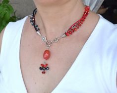Beaded Jewelry Set Agate Coral Crystal Glass Silver by LKArtChic