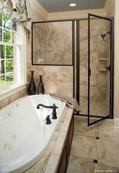 Master bathroom in The Yankton, plan 933. http://www.dongardner.com/plan_details.aspx?pid=2530. #Master #Bathroom #WalkinShower