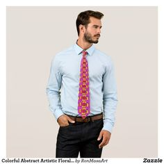Colorful Abstract Artistic Floral Graffiti Flower Tie