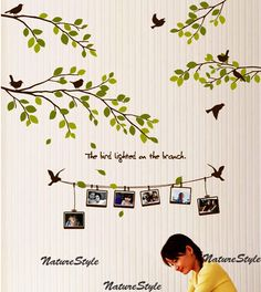 Branch with Flying Birds and Picture Frames Vinyl by NatureStyle-love these decal murals.