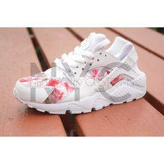 Floral Nike Huarache Run White Bushel of Roses ($230) ❤ liked on Polyvore featuring shoes, athletic shoes, sneakers, black, sneakers & athletic shoes, tie sneakers, unisex adult shoes, white shoes, rose shoes and black tie shoes