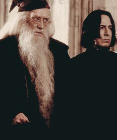"""2001 - Richard Harris as Headmaster Albus Dumbledore and Alan Rickman as Professor Severus Snape in """"Harry Potter and the Sorcerer's Stone,"""" the first of the Harry Potter movies."""