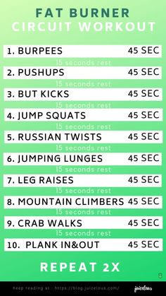 FAT BURNER CIRCUIT WORKOUT - Bloomlous- Juicelous- Do you want to be fit? Lose some extra fat with this bat burner circuit workout. get fit and strong with our circuit workouts on your cardio days. Redo this circuit as many times as you like but don't go Hitt Workout, Hiit Workout At Home, Tabata Workouts, At Home Workouts, Workout Circuit, Circuit Training Workouts, Two A Day Workouts, Circuit Exercises, 15 Minute Hiit Workout