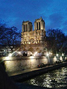 Notre Dame on the Seine at night.  ~Klasko